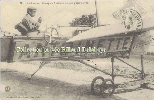 MONOPLAN ANTOINETTE.Hubert LATHAN à sont poste de vol le 25.07.1909.
