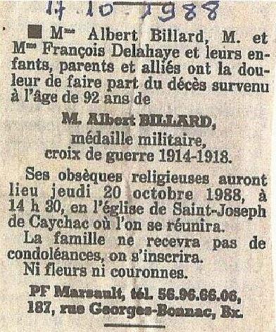 Avis de  décès d'Albert BILLARD, il y a 30 ans, le 17.10.1988.