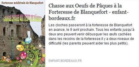 Chasse aux oeufs de Pâques le 9 avril 2017 à la forteresse de Blanquefort.