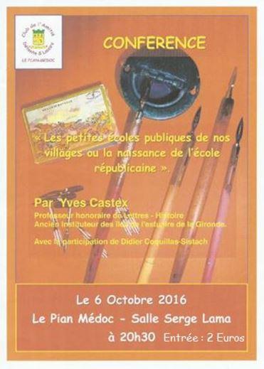 LE PIAN MEDOC - CONFERENCE - Salle Serge LAMA à 20h30 le 6 octobre 2016