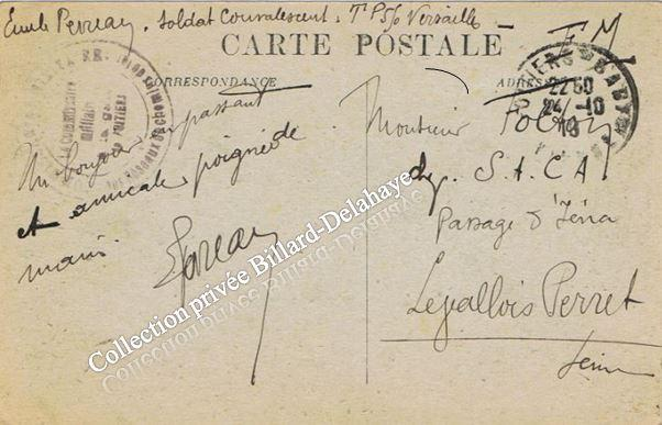 Tampon du commissaire militaire de la gare de Poitiers 24.10.1918.