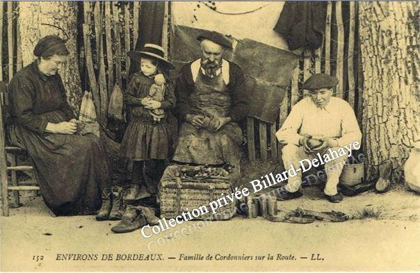 FAMILE DE CORDONNIERS SUR LA ROUTE - Environs de BORDEAUX -