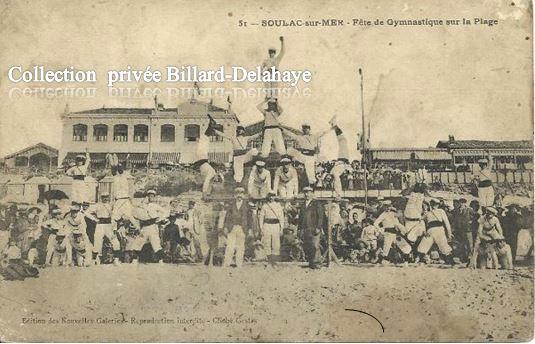 51 - FETE DE LA GYMNASTIQUE SUR LA PLAGE A SOULAC EN 1905.