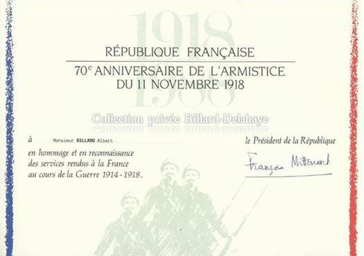 Monsieur François MITERRAND, Président de la République à Monsieur Albert BILLARD.
