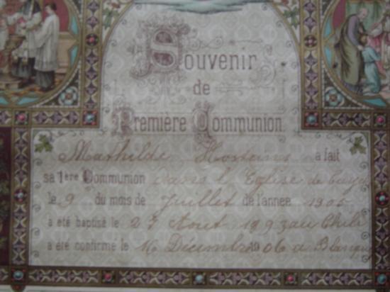 Souvenir de la1ère communion de Mathilde le 9 juillet 1905.