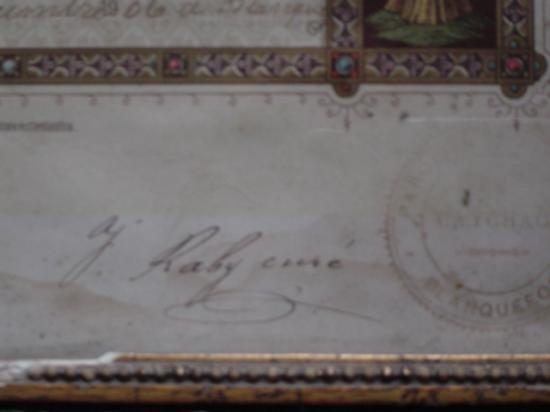 Signature de l'Abbé Raby.