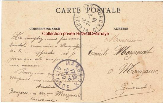 Verso. Propriété du maire de Blanquefort Jean-Baptiste Léon  Cavalié de 1878 à 1890 et conseiller général du canton vers 1904.