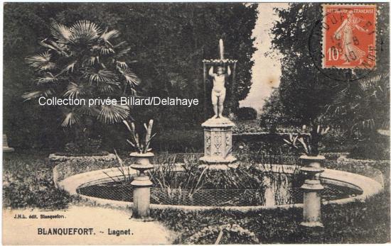 Fontaine du domaine de Lagnet carte ayant circulé en 1910.
