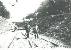 Officiers alllemands sur la voie ferrée entre Soulac et Le Verdon. 1941