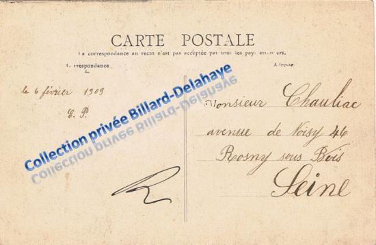 Verso d'une CPA de l'eglise St Joseph de Caychac 1909.