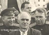 Charles TILLON ministre de la reconstruction lors d'un meeting en 1947.