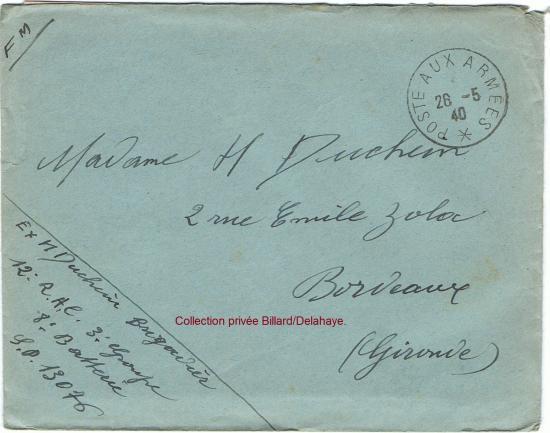 Courrier de guerre du 28 mai 1940, expédié du Garage Godefroy, rue de Nesle, à Roye dans la Somme.