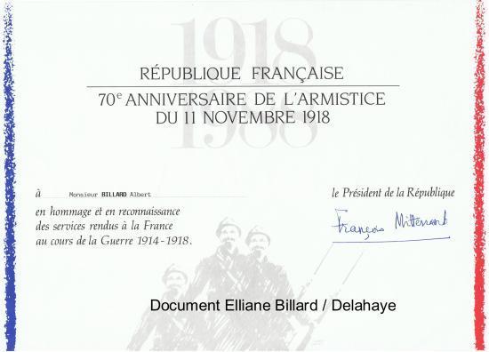 Diplôme en hommage et reconnaissance des services rendus à la France au cours de la Guerre 1914-1918.