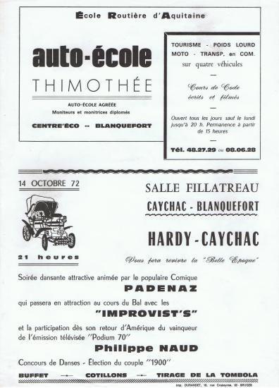 Soirée Belle Epoque, par Hardy-Caychac  1972.