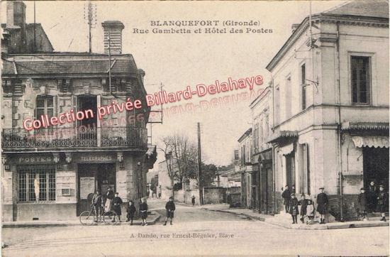 Rue Gambetta, Hôtel des postes, cpa envoyée le 8 mars 1919.
