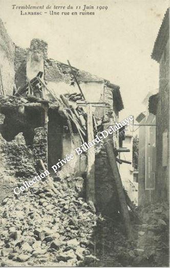 SEISME DE LAMBESC (Bouches-du-Rhône) le 11.09.1909. (46 morts, 250 blessés).