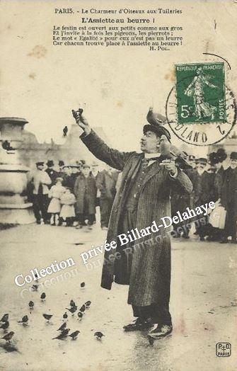 LE  CHARMEUR D'OISEAUX AUX TUILERIES. L'ASSIETTE AU BEURRE. Env.1908.