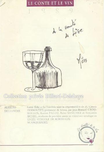 LE CONTE ET LE VIN 1989 dédicacé par Müss illustrateur caychacais engagé.