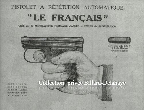 """Pistolet à Répétition Automatique en 1913 : """"Le Français""""."""