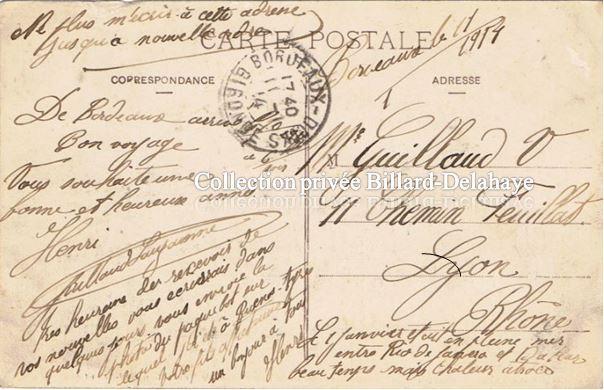 LE GALLIA - CP envoyée de Bordeaux le 11 janvier 1914.