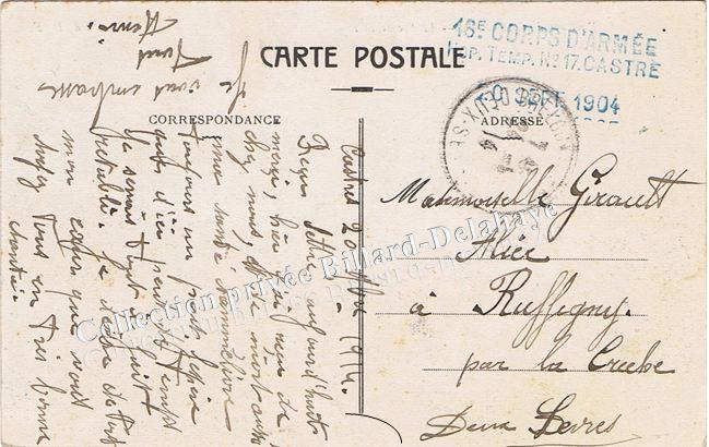Verso : 16e corps de l'armée, Hôp. Temp. N° 17 Castres 1904