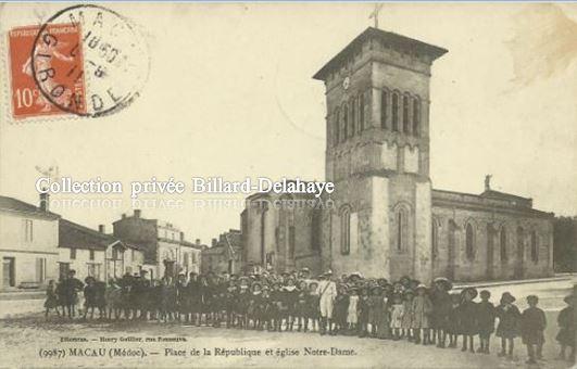 9987 - MACAU (Médoc) - EGLISE NOTRE DAME - ENFANTS DES ECOLES vers 1900.