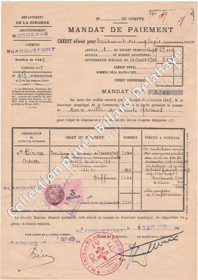 Mandat de paiement d'août 1945