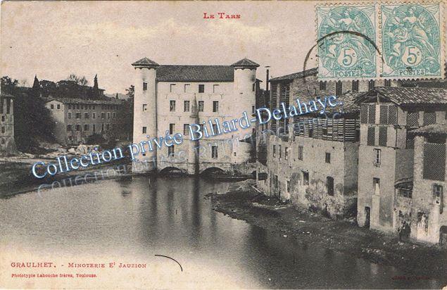 JAUZION Meneurie ou Minoterie à Graulhet (81).Circulé 31.01.1906.