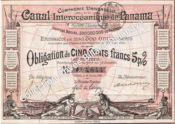 Obligation Canal de Panama de CINQ CENTS francs au porteur.