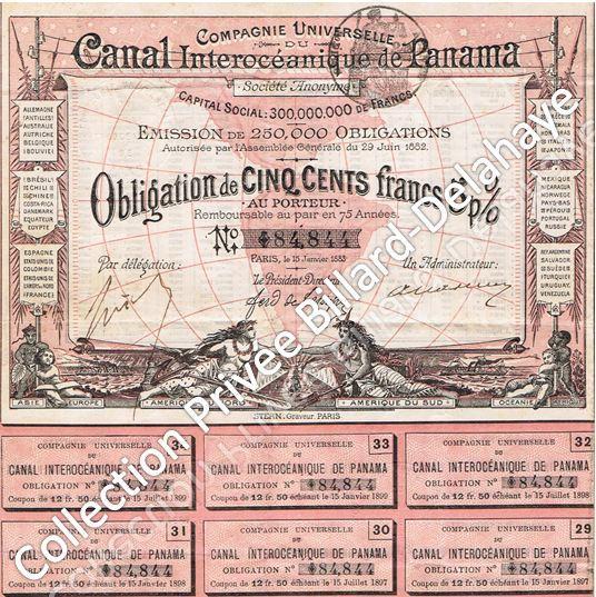Obligation de Cinq cent francs, avec coupons détachables.