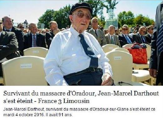 JEAN-MARCEL  DARTHOUT-Oradour-sur-Glane- (87). Une mémoire vive s'est tue.