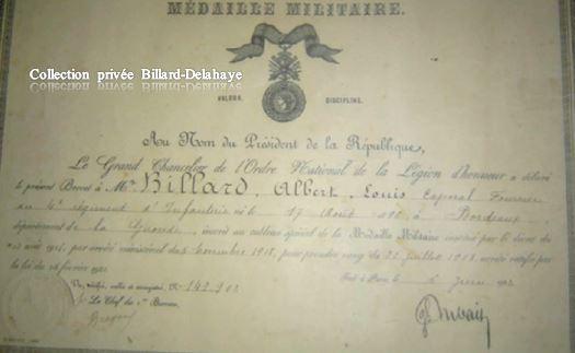 MÉDAILLE MILITAIRE délivrée à mon Père BILLARD Albert, Louis.