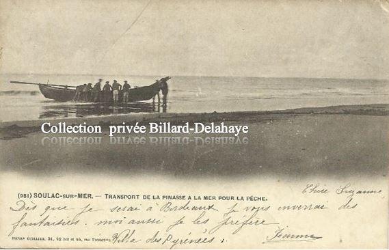 981 - SOULAC 1900 - TRANSPORT DE LA PINASSE A LA MER POUR LA PECHE.