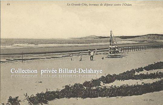 TRAVAUX DE DEFENSE CONTRE L'OCEAN A SOULAC vers 1900 ?