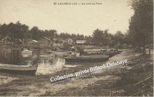 LACANAU - LAC. UN COIN DU PORT VERS 1940.
