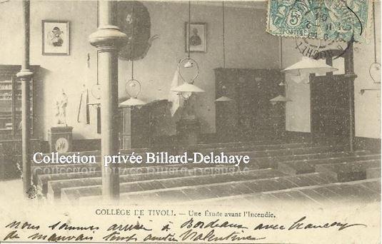 COLLEGE DE TIVOLI - UNE ETUDE AVANT L'INCENDIE DU 01.02.1904.